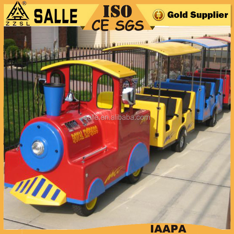 Amusement rids sightseeing tourist train toys electric tourist trains for sale