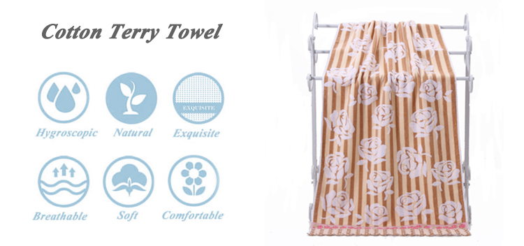 2018 100% cotton jacquard camping drying hand towel for wholesale