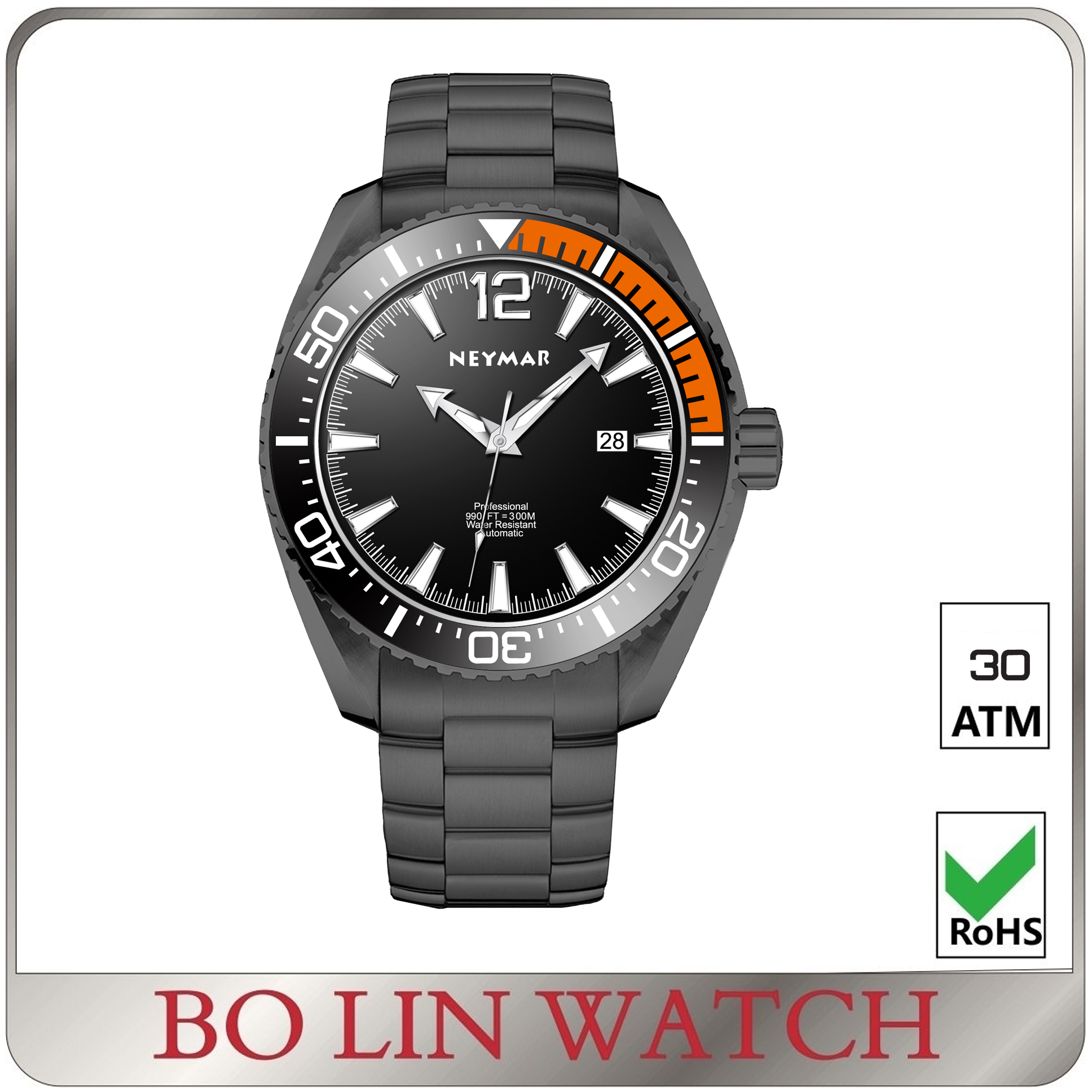 316L stainless steel dive 30atm water proof Diver NH35 Automatic Luminous custom logo watch