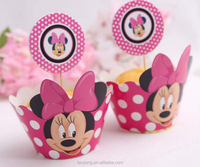 Wholesale Mickey Mouse princess and prince cupcake liners with picks kit