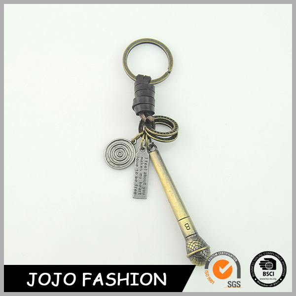 Manufacture promotional cheap custom bronze micrphone key chain key ring