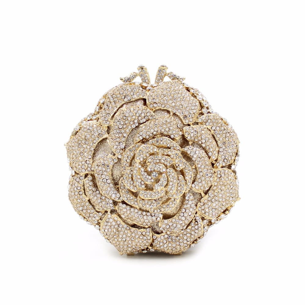 High End Mix colored crystal stone Rose Flower evening clutch bag
