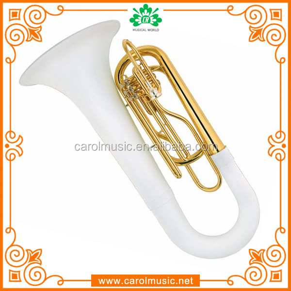 MB012 White Marching Tuba with case