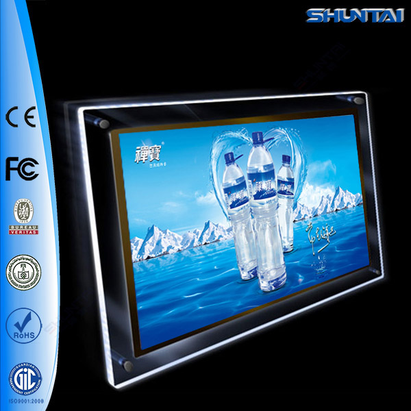factory price indoor single sign wall mount acrylic crystal led <strong>advertising</strong> light box