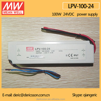 MEAN WELL 100W CE 90-264VAC Universal Input 24V 4.2A Constant Voltage IP 67 LED Driver LPV-100-24