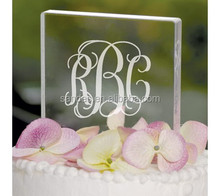 Freestanding Square Clear Acrylic Wedding Cake Topper with Letters