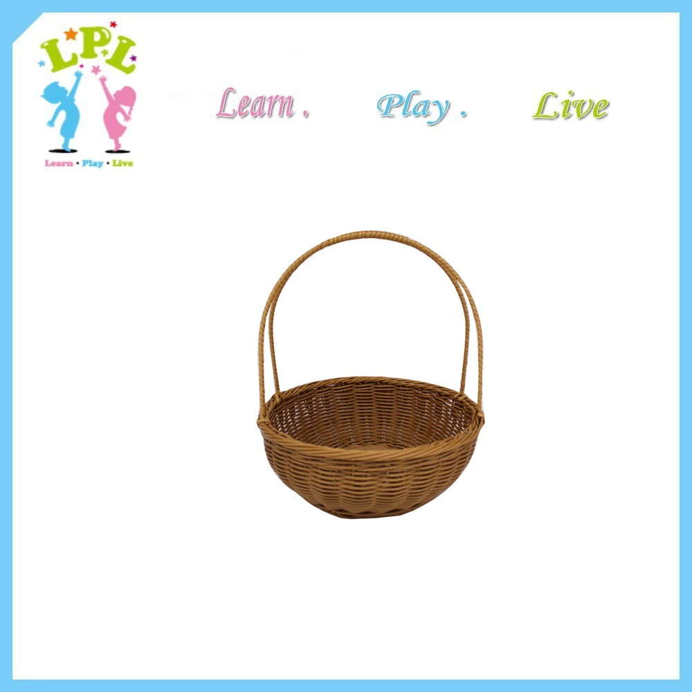 Brown and black color rattan plastic basket with handle handmade round hanging basket