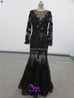 Real Sample MN-E039 Sexy See Through Long Sleeves High Quality Lace Appliqued Evening Dress