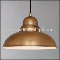 UL CUL Listed Light Fixture Factory USA Retro Style Antique Brass Hanging Metal Industrial Lamp With Round Metal Shade C30177