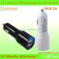 4.2Amps 22W Dual USB Port Car Charger for Apple and Android Devices, iPhone 5 5S 5c 4 4S; Samsung Galaxy S4 S3, Galaxy Note 3 2;