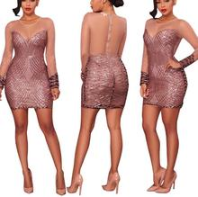 L3626A Womens Sexy Long Sleeve Bodycon Sequin Splice Mini Dresses