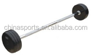 Round fixed rubber barbell