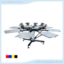 Economical manual 8 color 8 station rotary t shirt silk screen printing machine for sale