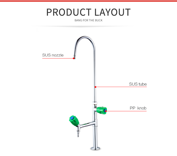 2211 Deck mounted SUS Industrial Lab Assay Gooseneck Water Faucet Tap