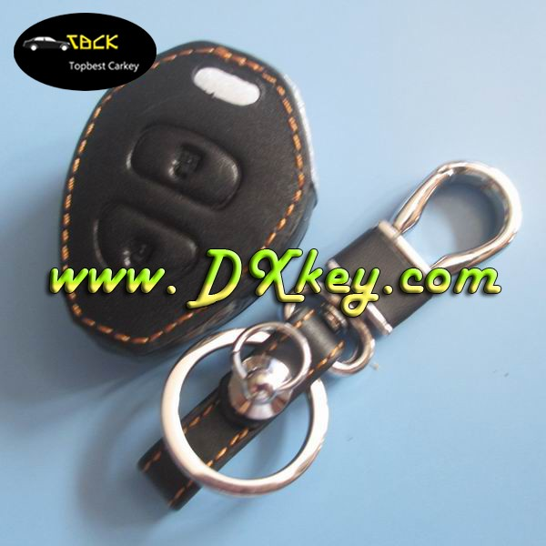 2 button leather key cover for toyota key shell leather car key holder toyota