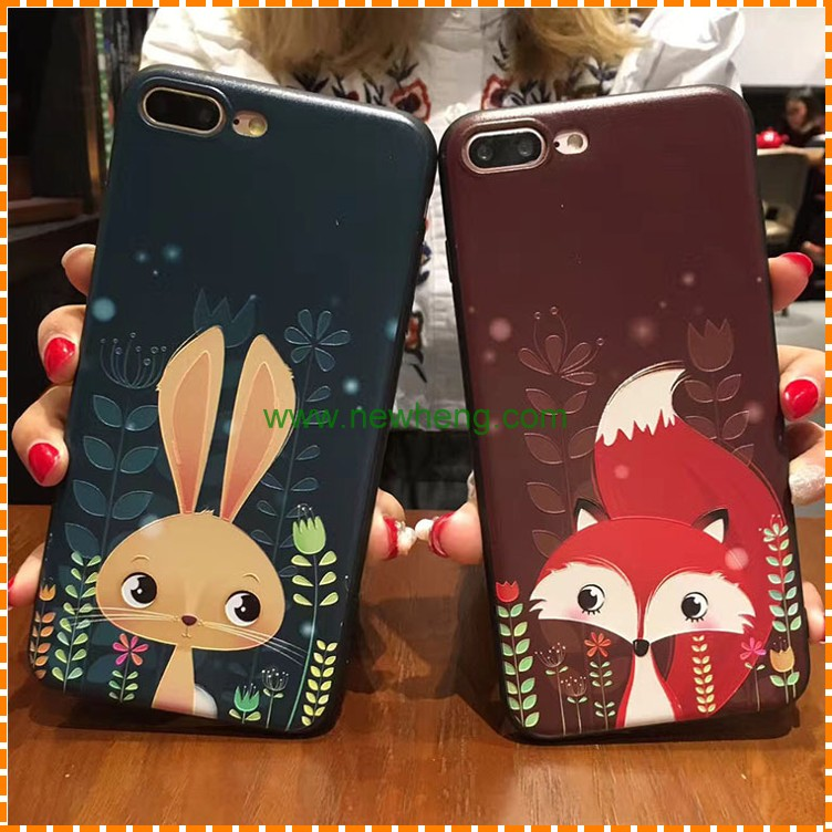 New Style Relief Painted Cartoon Animal soft silicone back cover case for iphone 7 plus