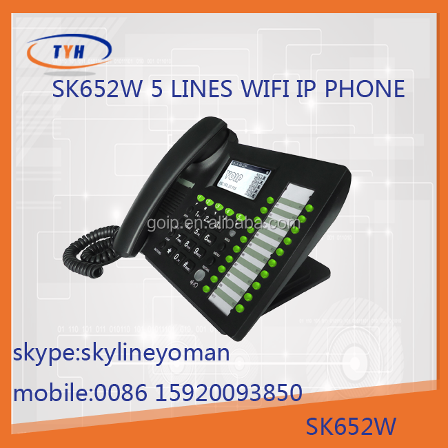 Best providing of new product sk 652w wifi ip phone with 5 sips