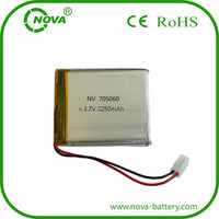 china manufacturer polymer li-ion battery 705060 3.7v 2250mah