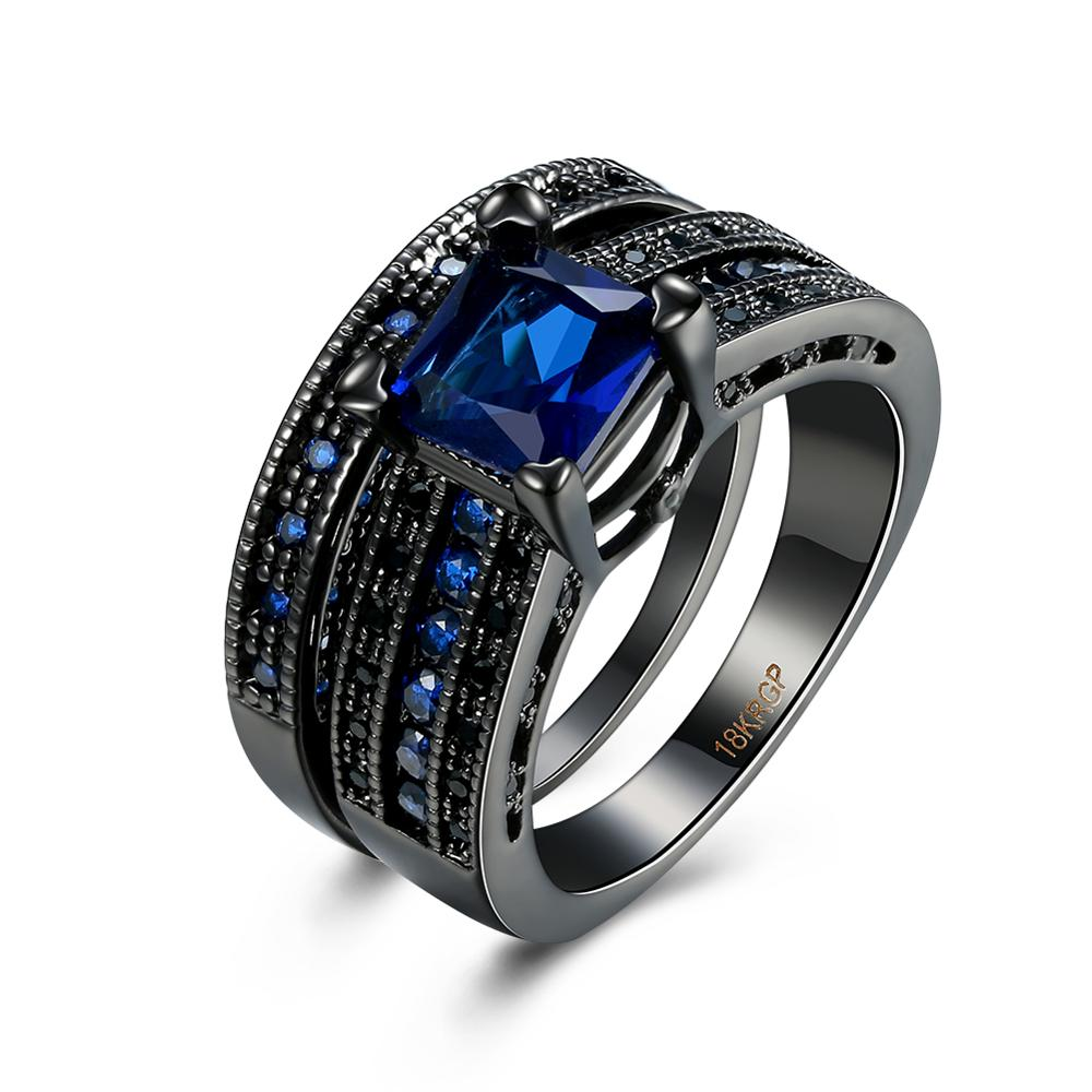 hot sale fashion black gold plated couple tat ring