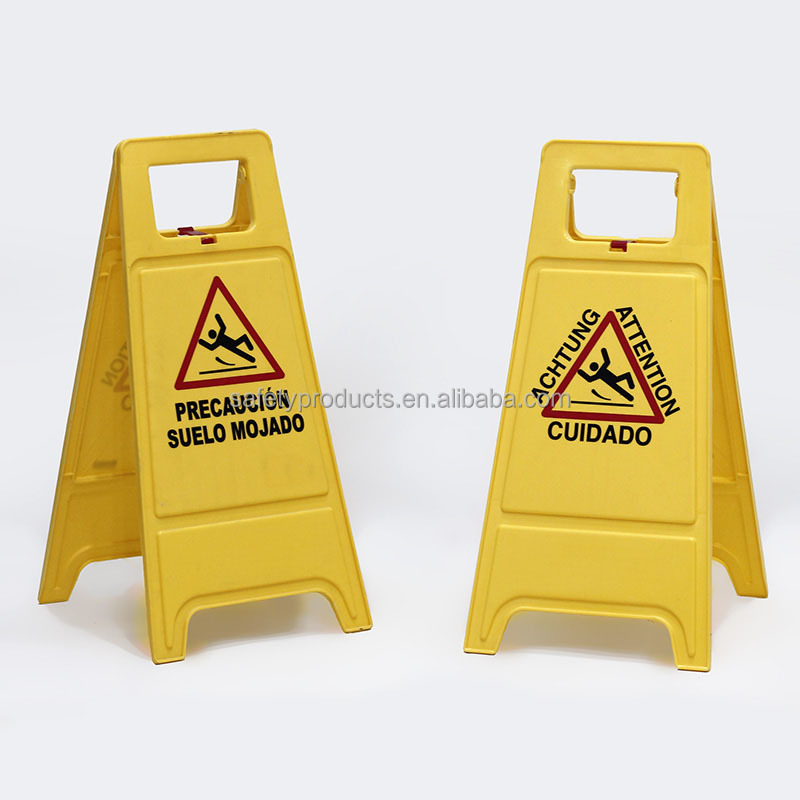 Customized Plastic A Shape Caution yellow Wet Floor Warning Sign