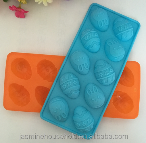 High Quality BPA free Resuable 10-cavity Silicone Easter Egg Chocolate mold Ice Cube molds