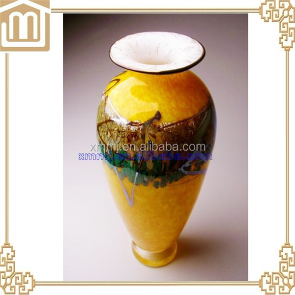 Yellow Hand blown antique murano art glass vase for home decoration