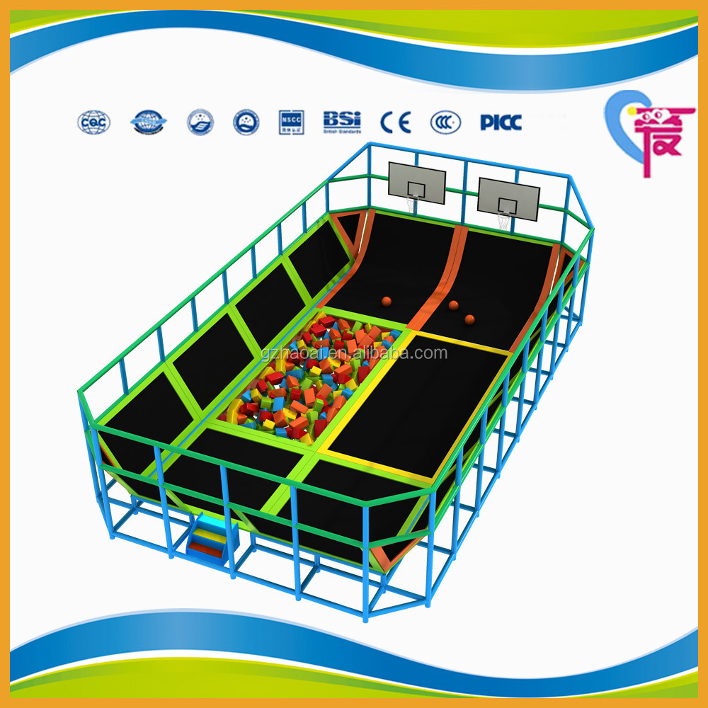 A-15252 Kids Indoor Rectangular Trampoline With Foam Pit and Basketball Stand