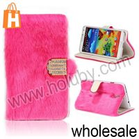 Fluffy Villi Fur Diamond Magnetic Flip Stand Leather Case Cover Skin for Samsung Galaxy Note III N9000 N9002 with Card Slots