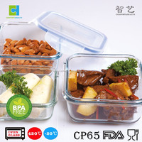 Square glass storage bowl Air-tight food container