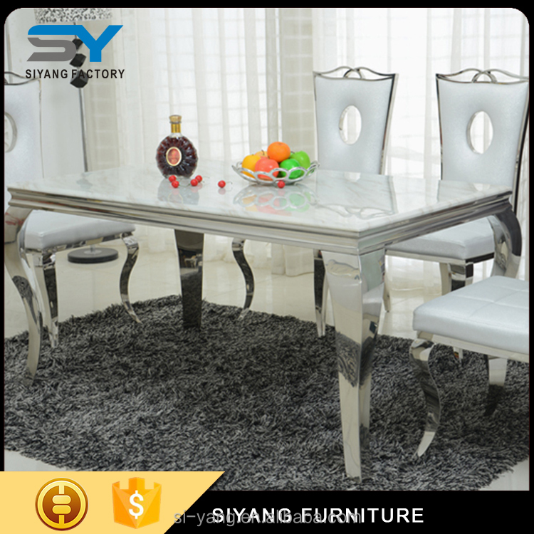 round dining table with discount stainless steel table base with marble top solid wood top CT003