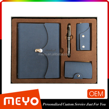 PU Leather Diary and Pen and key wallet Card holder set Office Premium Gift Set 2015