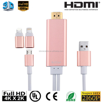 2 in 1 8Pin Dock to HDMI TV Cable with USB Charger For iPhone 5 5S 6 6s plus for Samsung HTC LG SONY HDMI