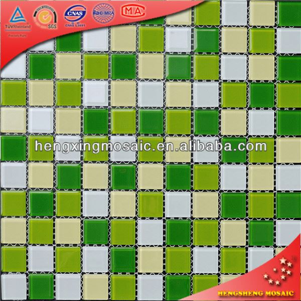 China Foshan Swimming Pool Bathroom Water Proof floor and wall tiles for toilet Glass Mosaic Tiles