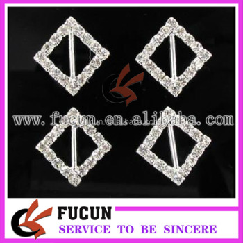 Charming Diamante diamond shape wedding rhinestone ribbon slider buckles
