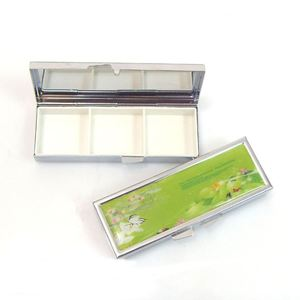 Shinny Gifts Metal Pill Box Portable Pill Box with Mirror Promo Gifts