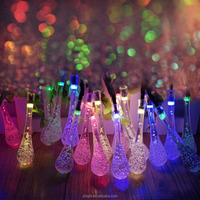 Multi-colored Solar LED String Lights with Garden Solar Panel 20 water drop shaped