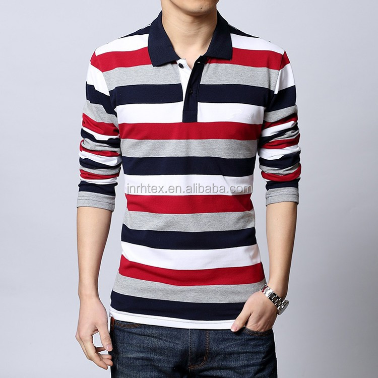 High quality long sleeve men striped polo collar tshirt design made of 100 cotton