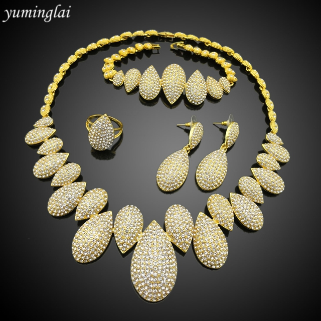 Italian jewellery sets Elegant party 24k gold color dubai plated jewelry sets FHK2840