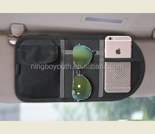 CS0103 CAR VISOR ORGANIZER Canvas Multi-function Car Sun Visor Organizer Card Phone Storage Pouch Bag Holder