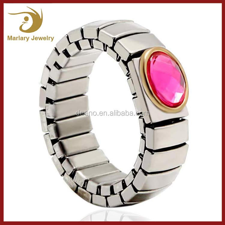 Italian Jewellery Designs Ring Jewelry Women Stainless Steel Gold Plated Link Initial Rings