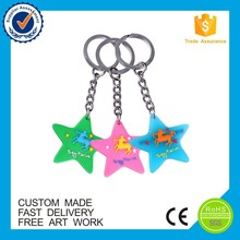 Fashionable classic 3d cartoon star shape soft pvc rubber keychain keyring