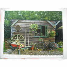 Handmade realistic Scenery Hut photo to oil painting