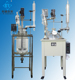 Jacketed and unjackted Glass reaction tank for industrial mixing with agitator stirrer condenser cooling reflux flask