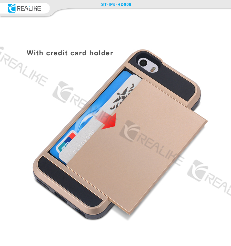 pc+tpu material with credit card holder for iphone 5 case wholesale