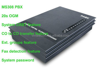 PBX for business solution MS308 telephone PABX with fax detection and with OGM 20sec60sec/90sec optional