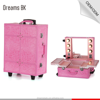 Professional Pink Color Rolling PVC Makeup Case With Mirror and Light