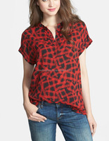 CHEFON Short sleeve split neck printed women models blouses for summer