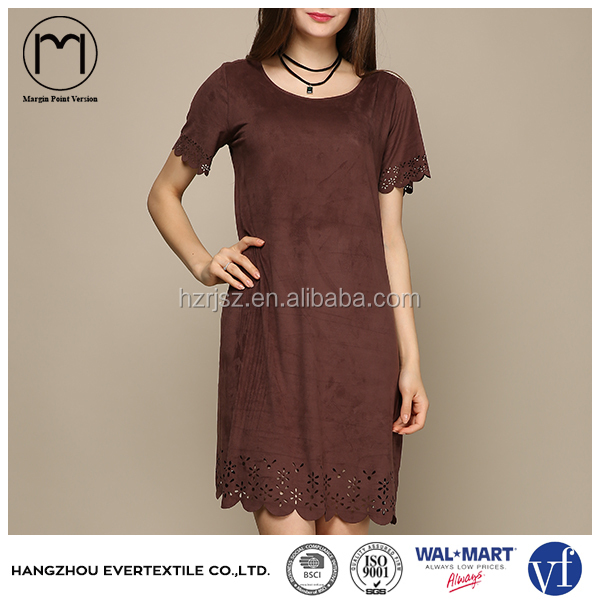 New custom Supplier Style Women Casual Short Sleeve Suede Ladies Dress Picture Clothing