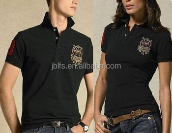 Wholesale black customized couple polo shirt design buy for Couple polo shirts online
