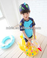 2013 Boy Cartoon Swimsuit,2pieces Trunk+1piece Swimming Cap For Boys Swimwear